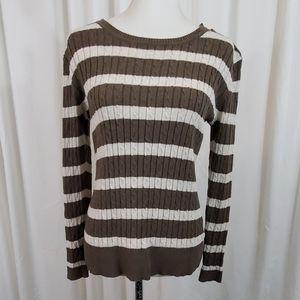 Laura Scott Brown/Green & Cream Striped Sweater